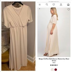 Beige Chiffon Maternity Dress